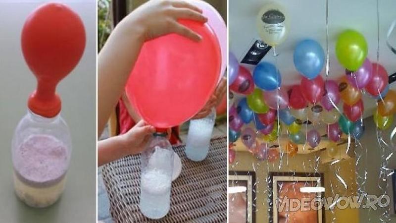 Foloseşte 2 INGREDIENTE pe care le ai în bucătăria ta şi umflă o cameră întreagă de BALOANE! Iată trucul care te ajută să umfli orice balon fără să sufli în el! Genial