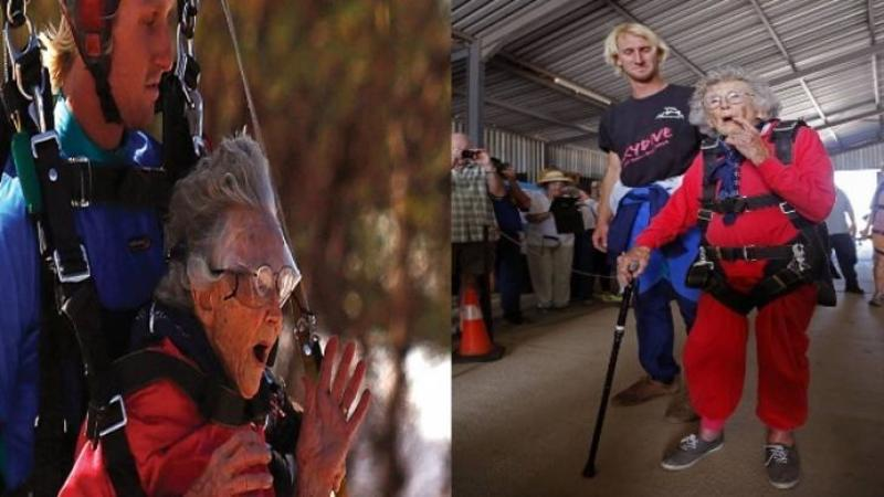 Are 100 de ani şi se simte ca o adolescentă: Ce cadou a primit această bunicuţă din partea nepoţilor la împlinirea a 100 de ani este dea dreptul PALPITANT!! Curajul ei este FORMIDABIL
