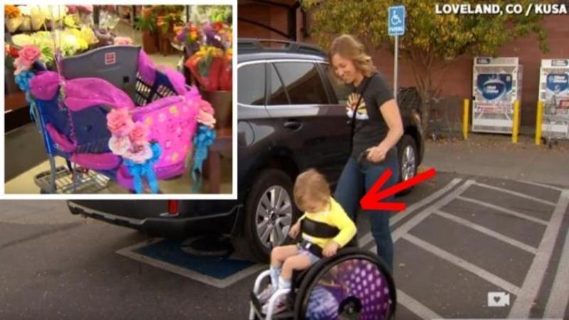 Mămica nu putea sa meargă cu fetiţa ei PARALIZATA la cumpărături din cauza scaunului cu rotile a copilului: Până când angajaţi iubitori ai supermarketului şi un cărucior special au făcut asta posibil! Emoţionant gest