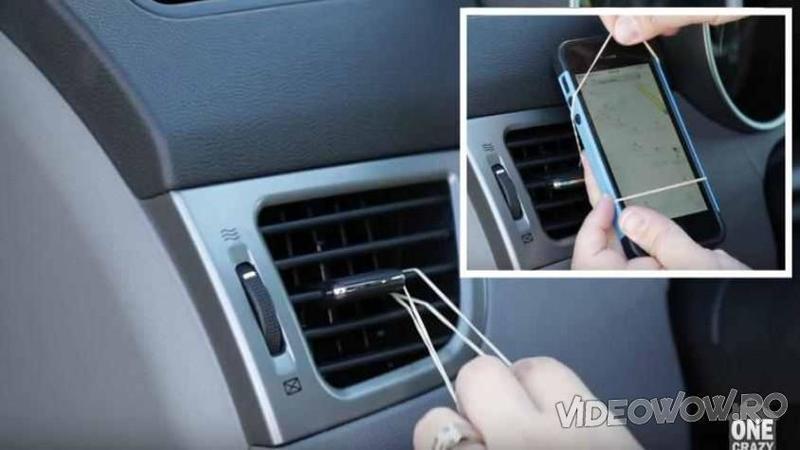 Introduce un ELASTIC prin găurile de la ventilaţia maşini: Ce se întâmplă când prinde telefonul de el... WOW, un truc la care nu mă aşteptam vreodată! Minunat cât de simplu şi eficient