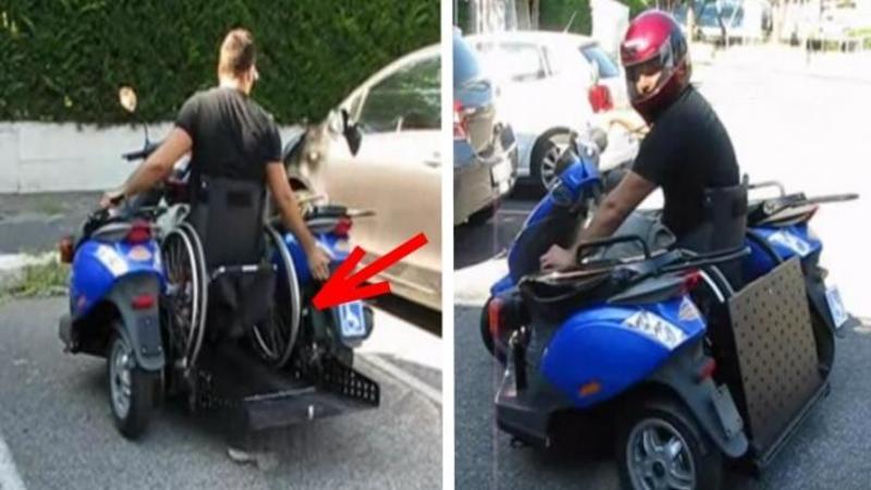 Acest băiat este în SCAUNUL cu ROTILE, dar ce a creat din 2 scutere este pur şi simplu EXTRAORDINAR: Un adevărat mijloc de transport facil şi ieftin pentru cei INVALIZI!