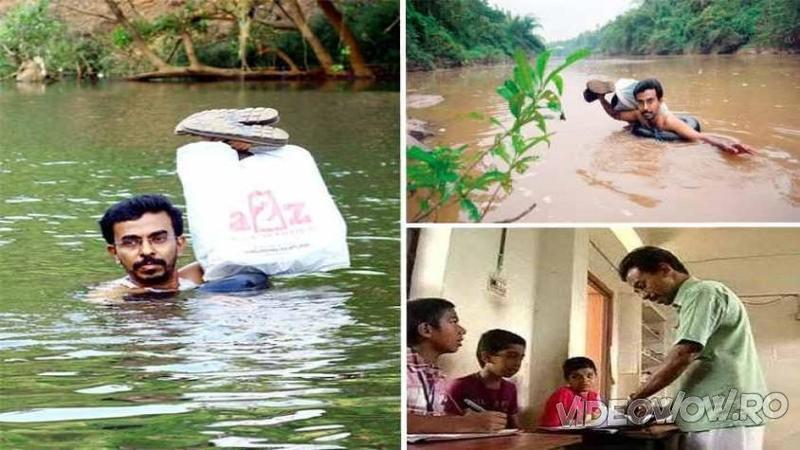 Acest om traversează INOT un râu periculos în fiecare zi: Când ai să afli din ce cauză face acest lucru îţi vor da lacrimile de fericire şi respect!