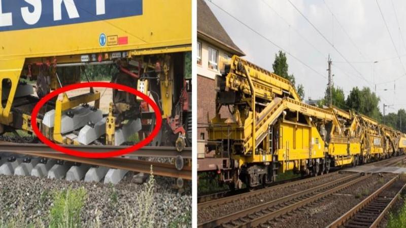 Este incredibil ce face această ?uzină? pe şine... pur şi simplu construieşte calea ferată AUTOMAT! Un mastodont al ingineriei moderne