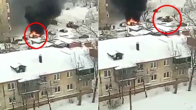 O maşină ardea în parcarea blocului dar nimeni nu avea curajul să intervină. Asta până când a venit Dorel cu excavatorul.