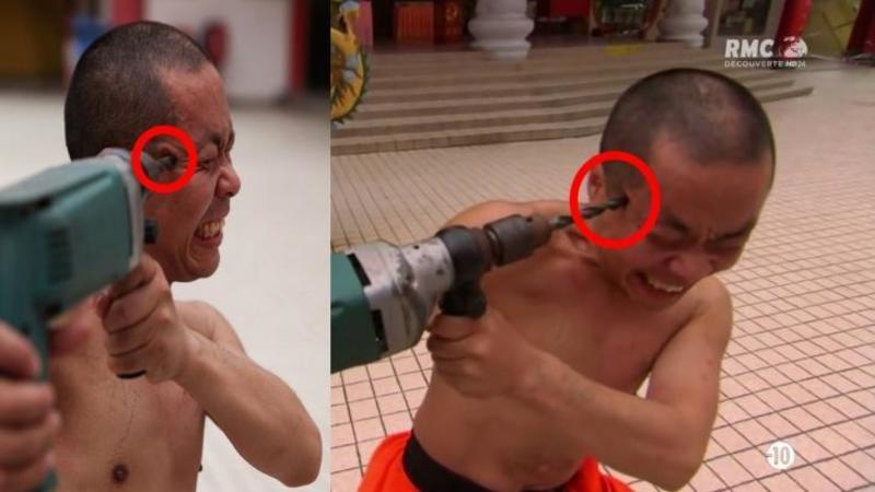 Nu îţi va vine a crede ce face acest călugăr Shaolin cu o bormaşină, este pur şi simplu NEBUNIE curată: Pare a fi făcut din oţel... WOW