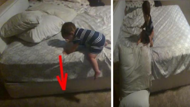 Bebeluşul se apropie de MARGINEA patului în care a fost lăsat nesupravegheat: Când am văzut ce face apoi am rămas înmărmurit - Este de pus în ramă acest mic descurcăreţ... Fantastic