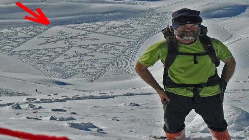 Merge zeci de km zilnic prin zăpadă pentru un motiv cu adevărat fantastic! Când ai să vezi ce desenează acest om cu ajutorul picioarelor lui şi a zăpezii vei rămâne fără cuvinte... Incredibil de frumos