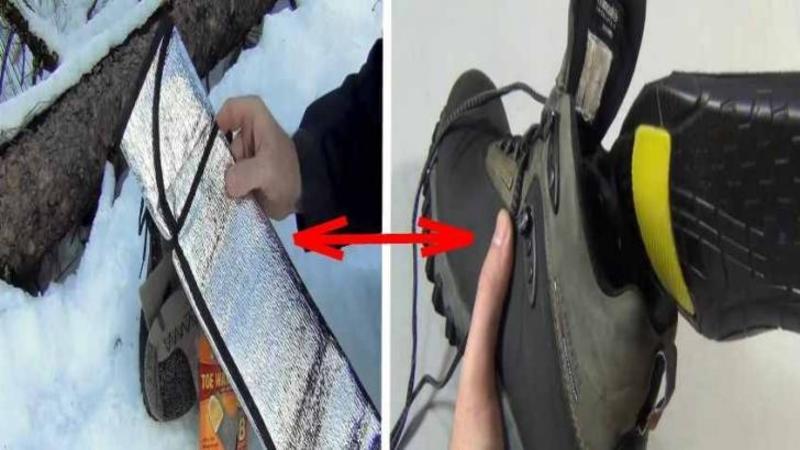 Cumpără un PARASOLAR de maşină şi îl introduce înăuntrul unui BOCANC: Ce se întâmplă după câteva secunde îţi va ţine picioarele calde toată iarna asta... Abia aştept să ies afară în zăpadă!