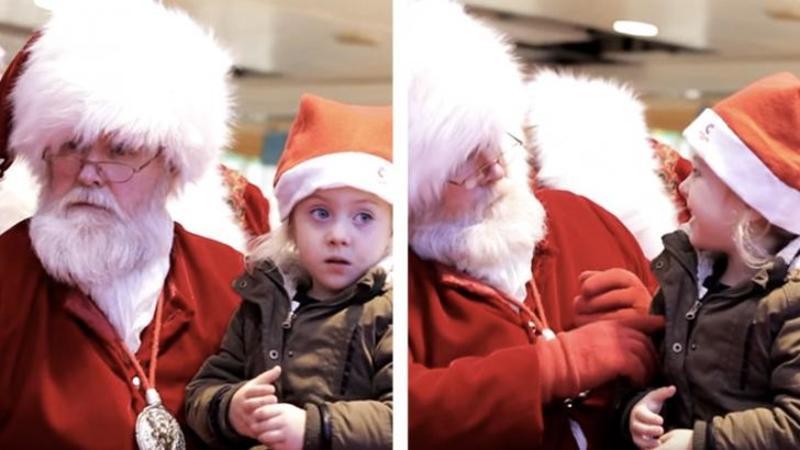 Mămica îi spune lui Moş Crăciun că fetiţa ei este SURDO-MUTA: Ce face Moşul pentru ca ea să se simtă bine lângă el mi-au dat lacrimile, este cel mai frumos cadou pe care la primit vreodată! Splendid gest