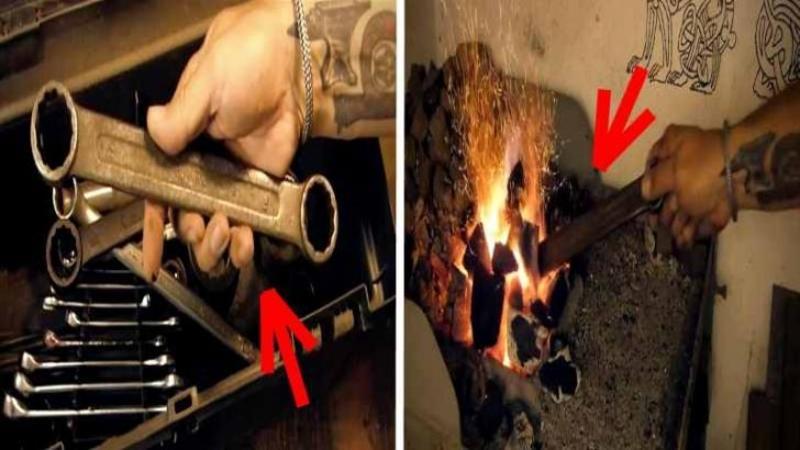 O cheie INELARA veche şi ruginită este introdusă în foc: Ce se întâmplă cu ea după câteva minute nu mi-a venit să cred, ar trebuii să fie în fiecare bucătărie asemenea bijuterie! WOW, fantastic!