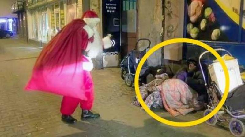 Moş Crăciun se apropie de aceşti oameni nevoiaşi ai străzii şi îşi întinde braţele cu iubire spre ei: Ce MIRACOL se întâmplă pentru BIETELE suflete zgribulite de frig îţi va atinge inima cu bunătate şi dragoste....