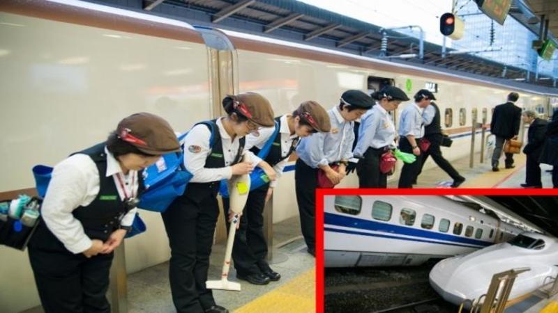 7 MINUTE: De atât au nevoie 5 muncitori Japonezi pentru a curăţa tot INTERIORUL unui TREN de călători! IMPRESIONANT